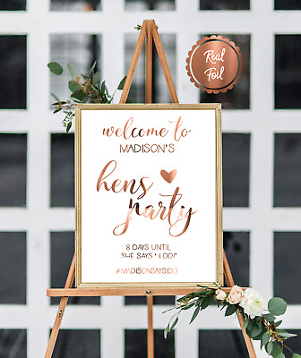 Copper foil HENS party sign / Hen's party print / personalised hens poster name