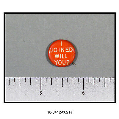 "Vintage YMCA Pinback ""I Joined Will You?"""
