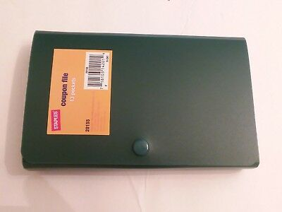 Staples Coupon File with 13 pockets - Accordion style in Dark Green - New
