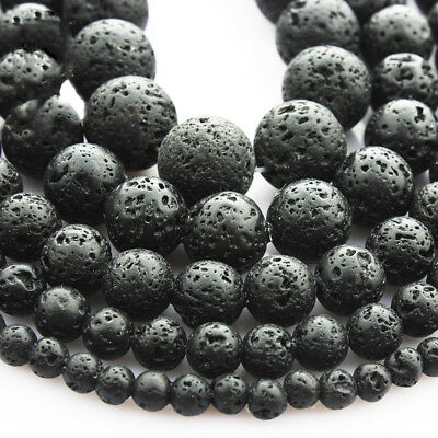 "1 String Black Lava Stone Jewelry Making Loose Beads 15"" Handmade DIY Bracelets"