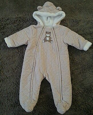 Little Me*Brown&White Bear Snowsuit*Baby Boy 3-6m*EUC