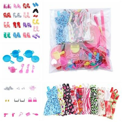 83PC/Set Lot Cheap Doll Barbie Dress Up Clothes Accessories Handmade Clothing