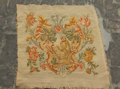 ANTIQUE 19th C FRENCH AUBUSSON HAND WOVEN TAPESTRY CUSHION 58x56cm (A814)