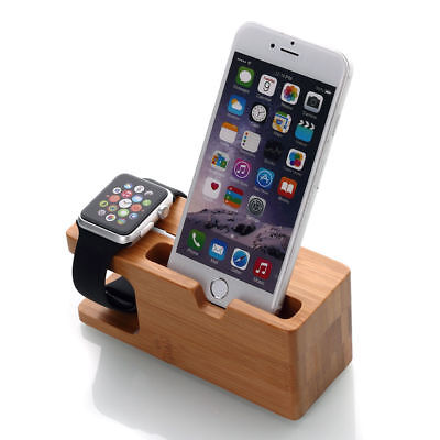 Bamboo Wood Charging Stand Docking Station for iPhone iWatch Dock Holder Mount