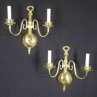 Vintage Pair Of Mid Century Classical Regency Double Arm Brass Sconces
