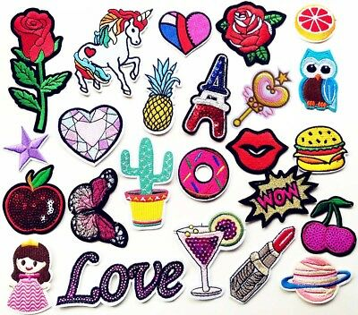 24pcs Mix Random Sew on/Iron on Embroidered  Patch Diy Craft Clothes Applique