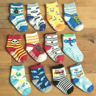 14 Pairs Toddler Non-Slip Shoe Socks Kids Baby Cartoon Warm Anti-slip 1-3 Years