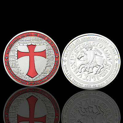 Silver Iron Red Cross Sword Red Knight Commemorative Coin Collectible Pop New