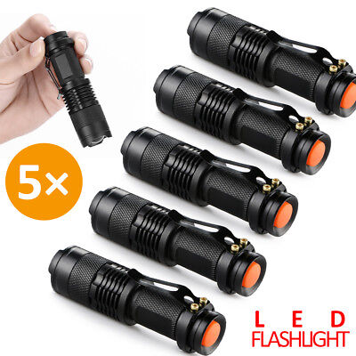 5PC 6000LM CREE Mini Q5 LED Flashlight Torch Adjustable Focus Zoom Light Lamp