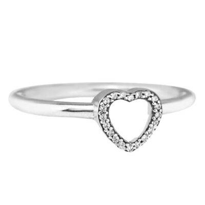 Puzzle Ring 925 Solid Sterling Silver Heart Frame Stackable Band Size 54 / 7
