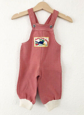 Vintage Baby Kids Boho 70s French Red Striped Romper Dungarees Overalls 1Y