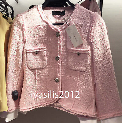 Zara New Woman Tweed Blazer With Buttons Frayed Trims Pink Jacket Xs-Xl 2630/795