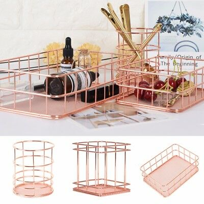 Modern Rose Gold Wire Mesh Basket Box Storage Container Home Bathroom Bedroom