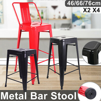 Set of 2/4 Metal Breakfast Bar Stool Industrial Kitchen Bistro Cafe Vintage