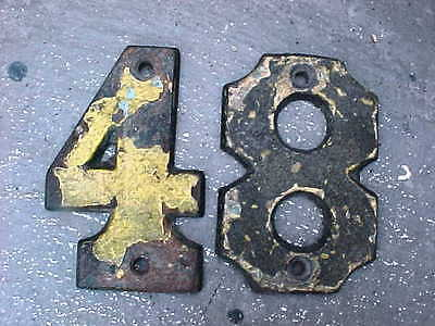 ANTIQUE VINTAGE VERY HARD TO FIND NICE CAST~IRON NUMBERS VERY HEAVY #48 or #84