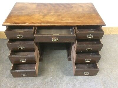 Victorian antique mahogany 9 drawer twin pedestal office writing desk With Key
