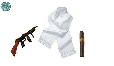 Gangster 3pc Set White Scarf 12cm Cigar Inflatable Tommy Gun Fancy Dress