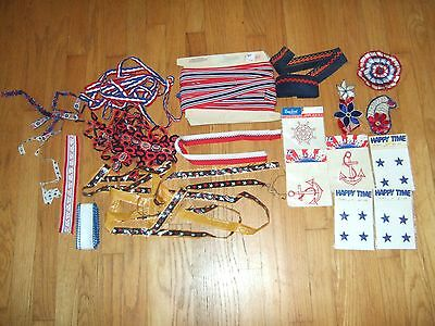 lot yds vintage nautical patriotic trim ribbon patches embroidered star anchor +