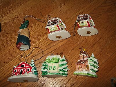 lot vintage russ berrie 80s 90s ceramic house post office barn church ornaments