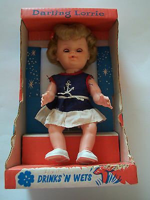 "Vintage 10 1/2"" Reliable Doll - Darling Lorrie - Original Box - Drinks 'n Wets"