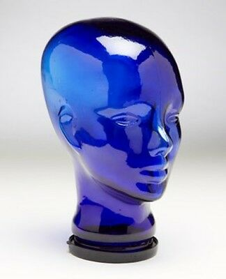 Vintage Blue Glass Store Display Mannequin Wig Hat Head Bust MAN BUST NO HAIR