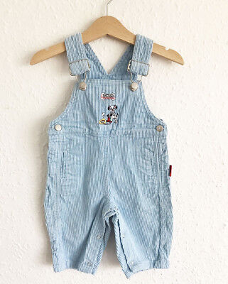 VTG Baby Kids 80s French Blue Cord Disney Dalmatian Dungarees Overalls 6-12 M