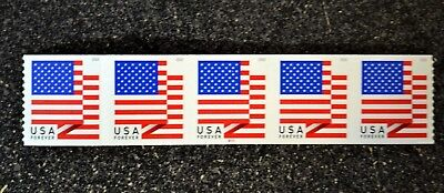 2018USA #5261 Forever U.S. Flag US - PNC Plate Number (#B111) Coil Strip 5 (BCA)