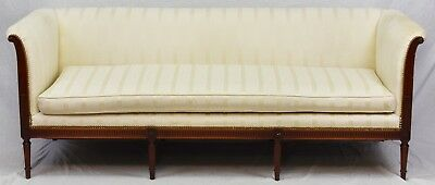 LOUIS XVI STYLE Mahogany Sofa with Sheraton Style Legs w Stripped Cream Fabric