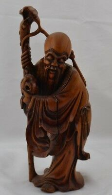Finely Carved Wood Asian Man Holding Gour Beard Chinese Large