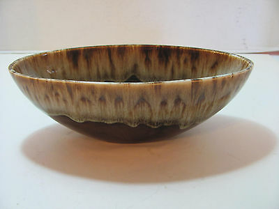 Brown Stoneware Drip Glaze 9 Inch Boat Shaped Serving Bowl