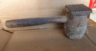 Old Wooden Mallet Cast Iron Teeth Meat Tenderizer Vintage Wood Tool I E T Co