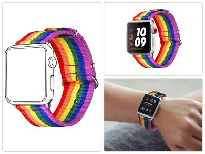 Rainbow Denim Wristband Band Bracelet Strap For iWatch 42MM Apple Watch Band New