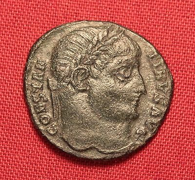 Ancient Roman Silvered Bronze Constantinus AE3 Coin, Camp Gate