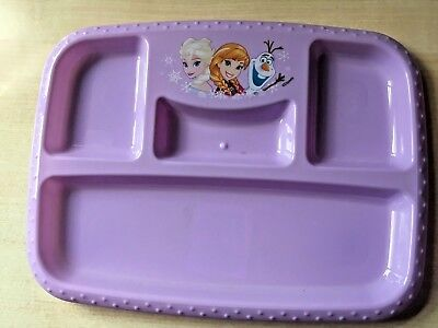 New Disney Frozen Rectangular Plastic Plate - Divided 4 Sections Anna Elsa Olaf
