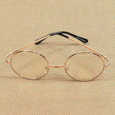 Women's Clear Lens Retro Round Circle Eye Glasses Metal Frame Small Rose Gold