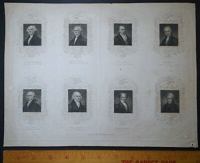 x RARE - Engraved Print - United States Presidents Portraits to Van Buren 1837