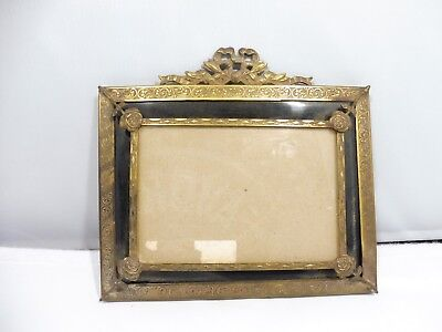 Antique 20'S French Enamel & Brass Picture Frame W Flowers
