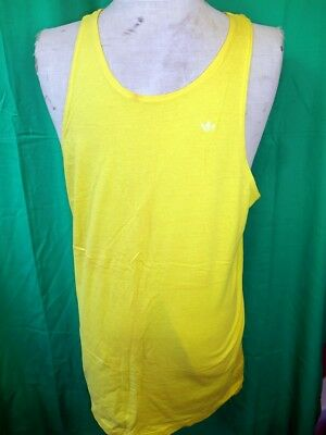 Vintage 1980s Yellow Gold Cotton Official Australian Made Adidas Singlet Tank L
