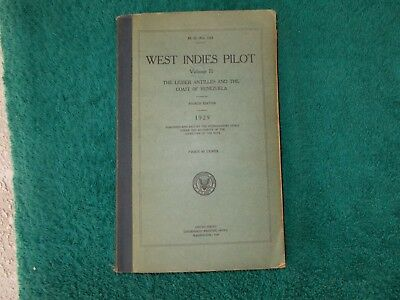1929 West Indies Pilot Vol II Lesser Antilles And Coast Of Venezuela US Gov Maps