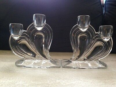 Rare Pair Of Art Deco Mold Blown Two Light Floating Heart Candle Holders