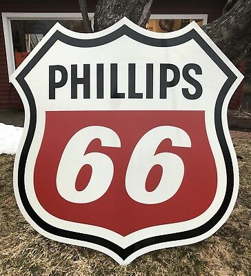 Vintage 5ft PHILLIPS 66 Gas Service Station Die Cut Advertising Sign Gas