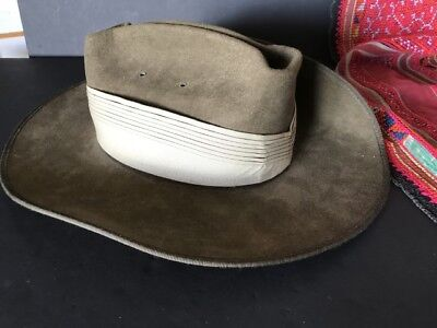 Vintage Australian Army Akuaba Slouch Hat Size 54 …beautiful collection / accent