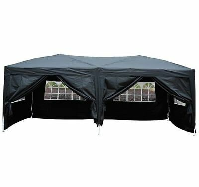 Outsunny 6m x 3m Pop Up Gazebo Party Tent Canopy Marquee with Storage Bag Black