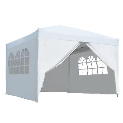 Outsunny 3m x 3m Pop Up Gazebo Party Tent Canopy Marquee with Storage Bag White