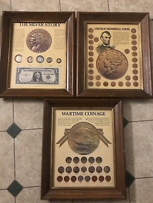 Vintage Lincoln Memorial Silver Story Wartime Coin Collections Framed 1974