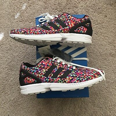 82a5b7f34 ADIDAS ZX Flux Multi Color Prism Rainbow Multicolor boost Sz 9.5 M19845  RARE NEW