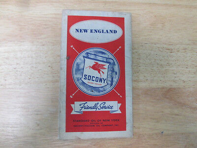 Vintage 1936 SOCONY STANDARD OIL NEW ENGLAND Gas Road Map