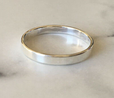 Sterling Silver Solid Stackable Stack 3mm Flat Band 5 6 7 8 9 10 12 13 Men Women