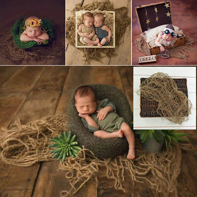 1 PC Newborn Jute Backdrop Blanket Baby Photography Prop Chunky Burlap Layer Net
