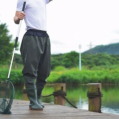 Elastic Waist Fishing Wader Pants Trousers Breathable Waterproof Boots Adults
